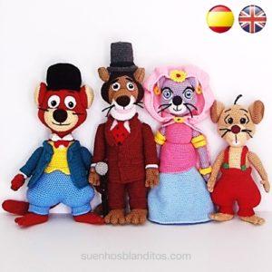 Patrones Amigurumi Willy Fog, Princesa Romy, Rigodon y Tico