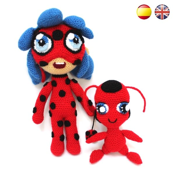 146 Crochet Pattern - Girl doll in a Ladybug outfit - Amigurumi ... | 600x600