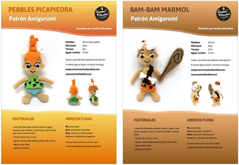 Patrones Pebbles Picapiedra y Bam-Bam Marmol – Sueños Blanditos