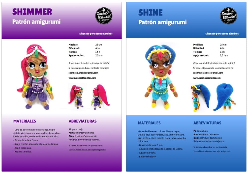 Shimmer and Shine PDF Patterns – Sueños Blanditos
